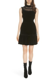 kate spade new york lace trim velvet dress
