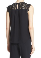 kate spade new york lace yoke silk top