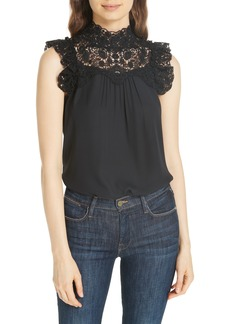 kate spade new york lace yoke sleeveless top