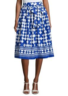 kate spade new york lantern poplin tie-waist midi skirt