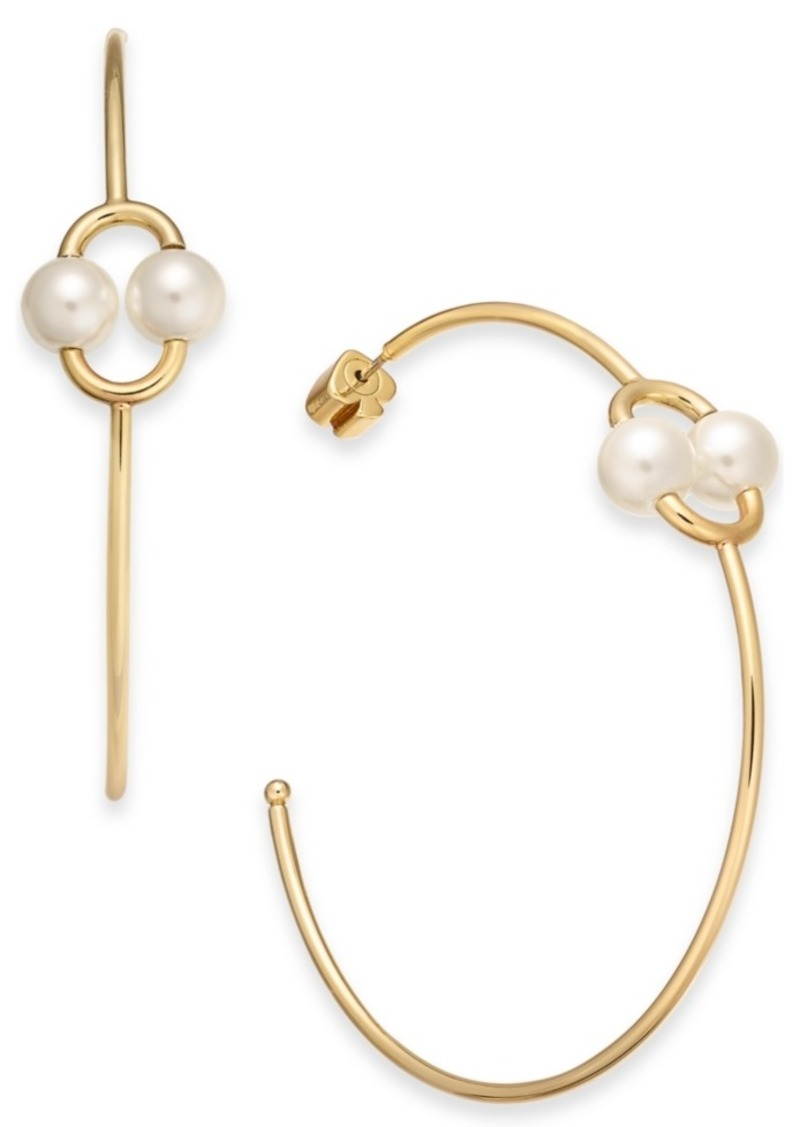 Kate Spade New York Large Gold-Tone Imitation Pearl Link Skinny Hoop Earrings 2-1/4""