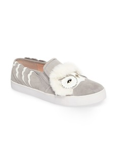 kate spade new york leferts faux fur trim slip-on sneaker (Women)