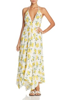 Kate Spade new york Lemon Print Halter Maxi Dress Swim Cover-Up