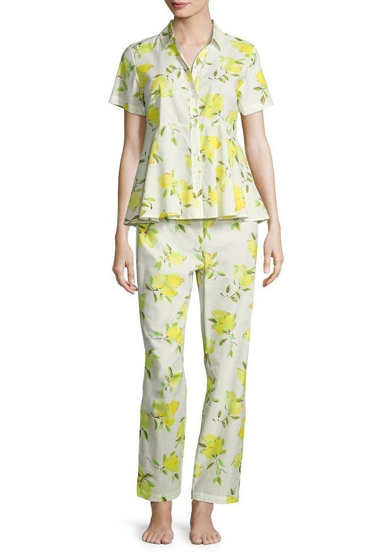 a14bf8bd85a3 Kate Spade kate spade new york lemon-print two-piece pajama set ...