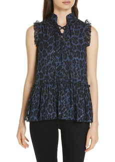 kate spade new york leopard clip dot top