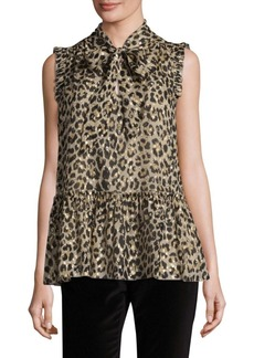 Kate Spade New York Leopard Clipped Dot Blouse