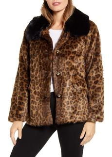 kate spade new york leopard faux fur jacket