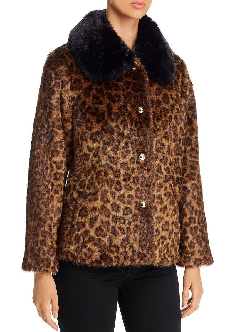kate spade new york Leopard-Print Faux Fur Coat