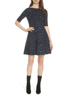 kate spade new york leopard print lace-up ponte dress