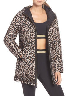 kate spade new york leopard print reversible parka