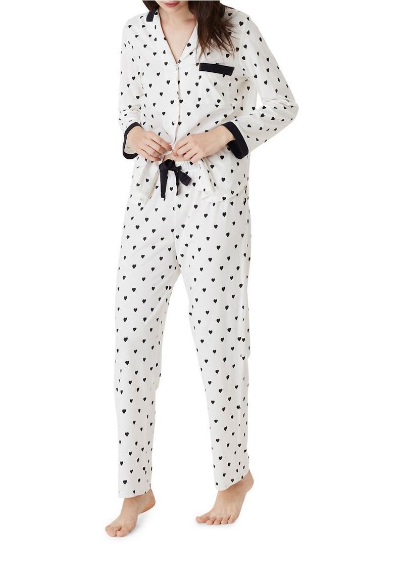 KATE SPADE NEW YORK Little Hearts Drawstring Pajama Pants