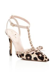 kate spade new york Lydia Leopard Print Calf Hair T Strap High Heel Pumps