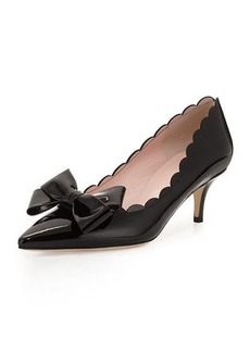 kate spade new york maxine patent scalloped bow pump