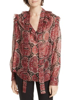 kate spade new york medallion metallic silk top