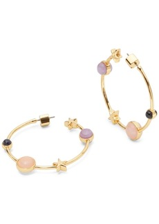 Kate Spade New York Medium Gold-Tone Stone & Star Hoop Earrings, 1.5""