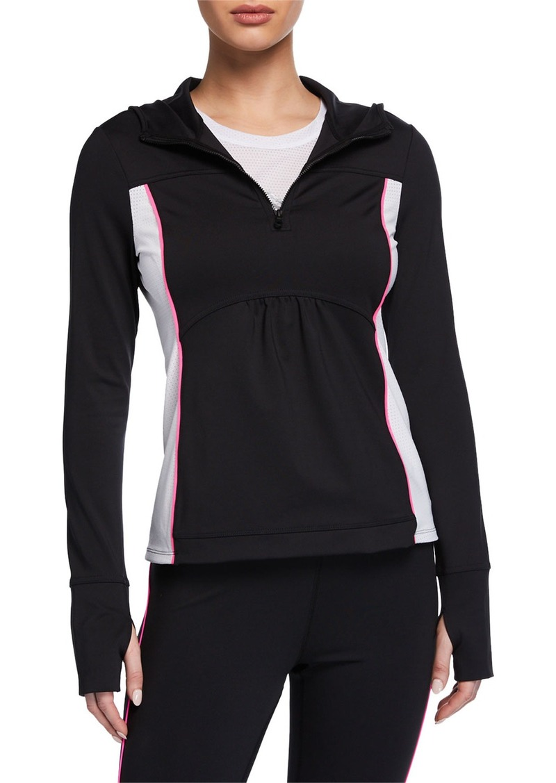 kate spade new york mesh inset half-zip jacket