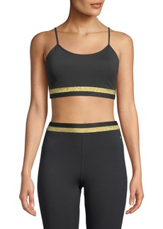 kate spade new york metallic bi-stripe scoop-neck sports bra
