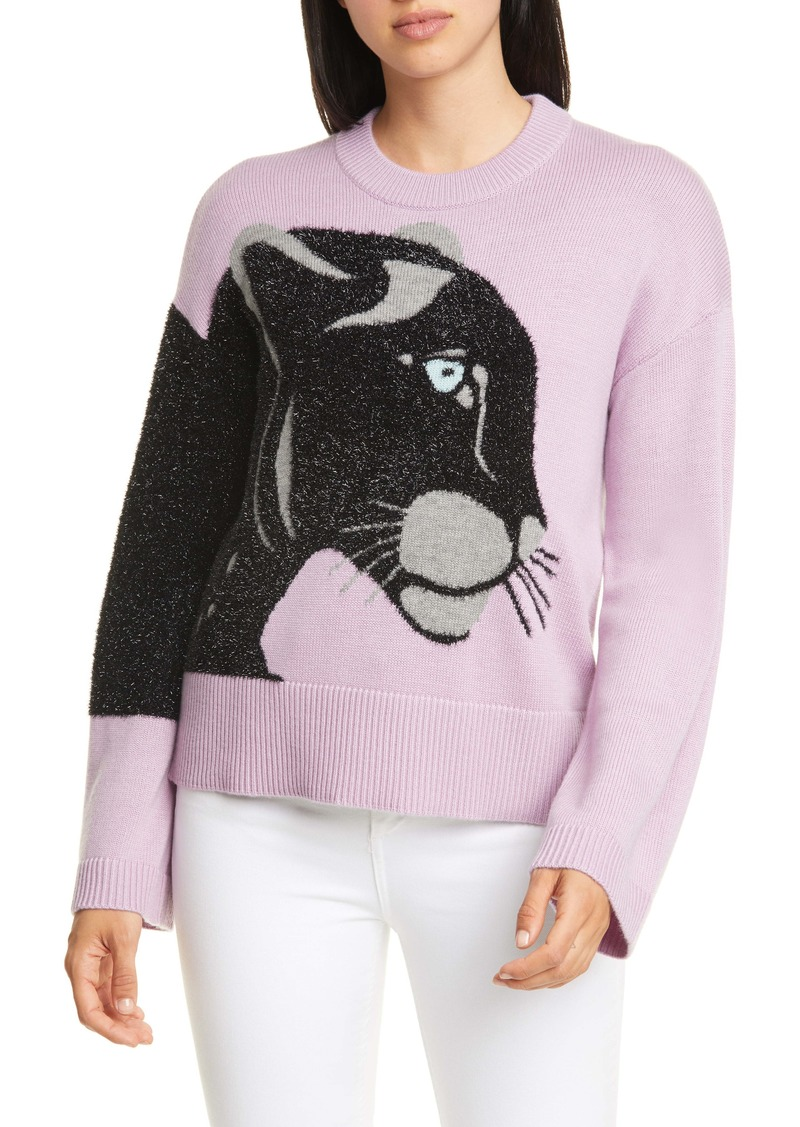 kate spade new york metallic panther wool blend sweater