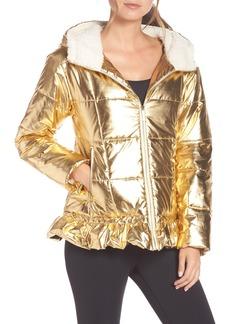 kate spade new york metallic puffer jacket