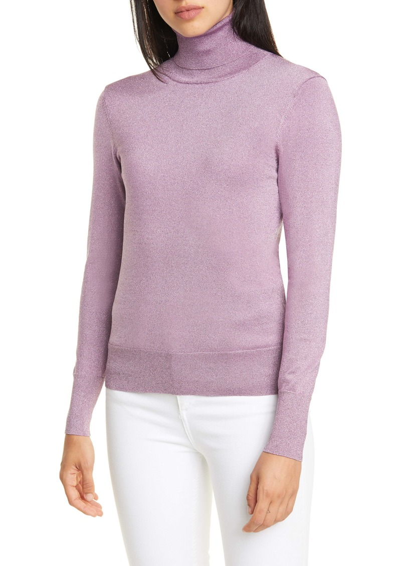 kate spade new york metallic ribbed turtleneck sweater