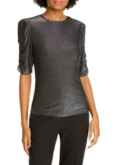 kate spade new york metallic ruched sleeve jersey knit top