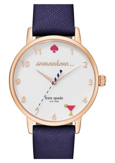 kate spade new york 'metro - somewhere' leather strap watch, 34mm