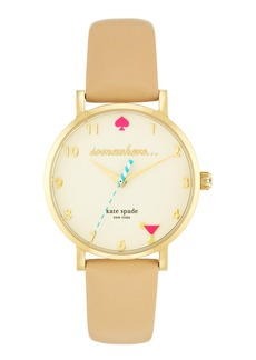 kate spade new york 'metro - somewhere' leather strap watch, 35mm