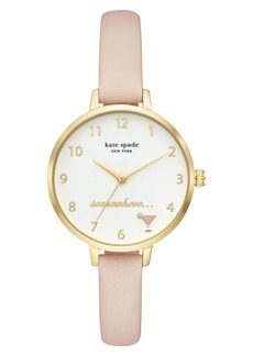 kate spade new york metro 5 o'clock somewhere leather strap watch, 34mm