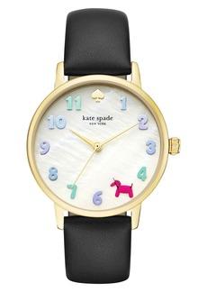 kate spade new york metro balloon leather strap watch, 34mm