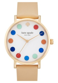kate spade new york 'metro' dot dial leather strap watch, 34mm