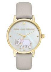 kate spade new york 'metro' elephant leather strap watch, 34mm