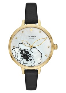 kate spade new york metro leather strap watch, 34mm