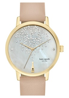 kate spade new york 'metro' leather strap watch, 34mm