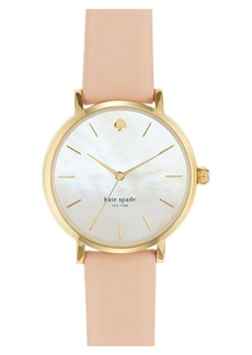 kate spade new york 'metro' round leather strap watch, 34mm