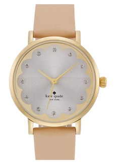 kate spade new york 'metro' scallop dial leather strap watch, 34mm