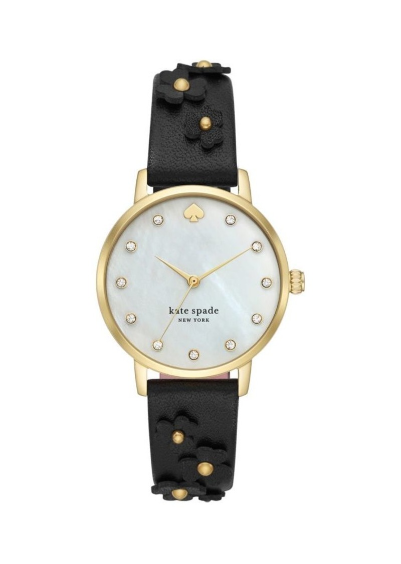 Kate Spade New York Metro Stainless Steel and Floral Leather-Strap 3-Hand Watch