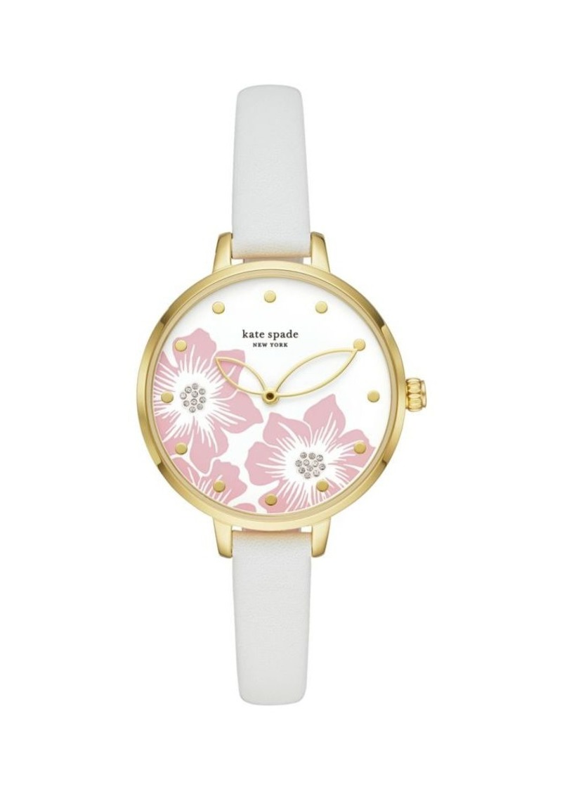 Kate Spade New York Metro Three-Hand Leather Watch