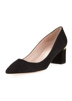 kate spade new york milan too chunky-heel suede pump