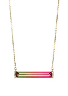 Kate Spade New York Mini 12K Yellow Goldplated, Ombré Glass & Cubic Zirconia Geometric Pendant Necklace