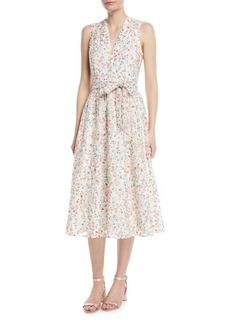 kate spade new york mini bloom burnout midi v-neck dress