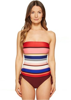 Kate Spade New York Miramar Beach #59 Adjustable Bandeau One-Piece Swimsuit w/ Removable Soft Cups and Straps