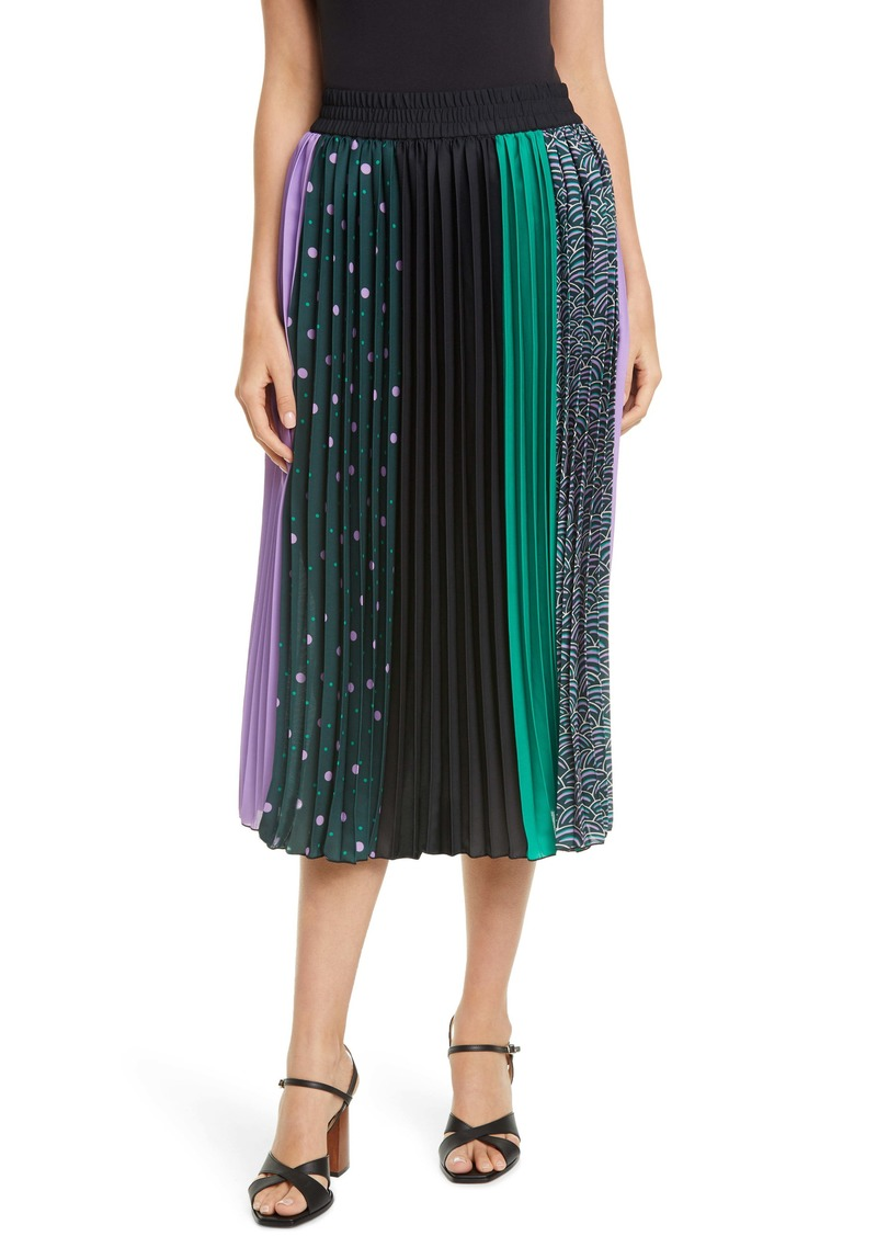 kate spade new york mixed print pleated skirt
