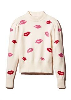kate spade new york Mock-Neck Lip Print Sweater
