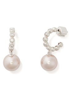 kate spade new york modern imitation pearl drop huggie hoop earrings