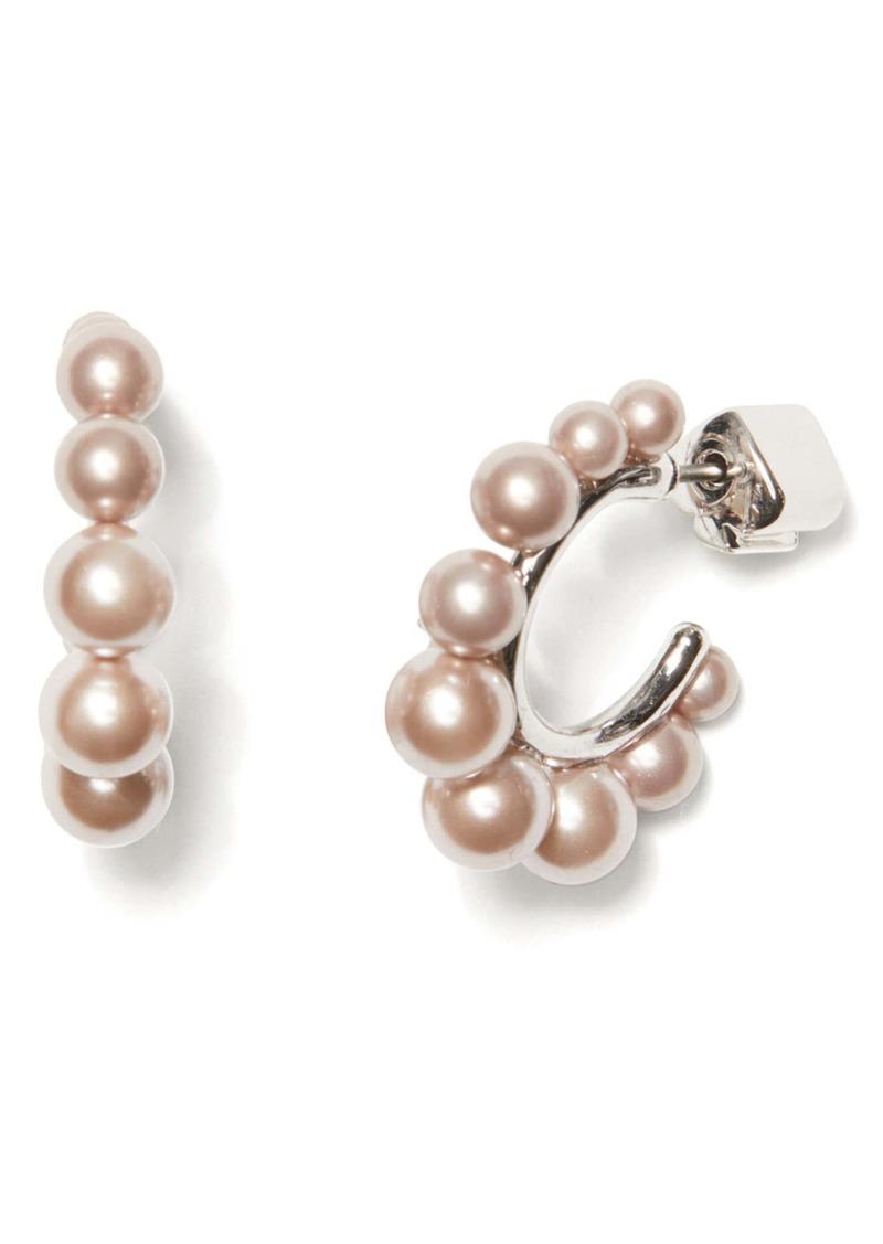 kate spade new york modern imitation pearl huggie hoop earrings