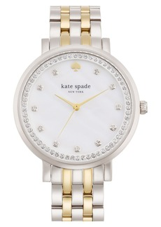 kate spade new york 'monterey' crystal dial bracelet watch, 38mm
