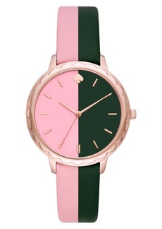 kate spade new york morningside scallop leather strap watch, 38mm