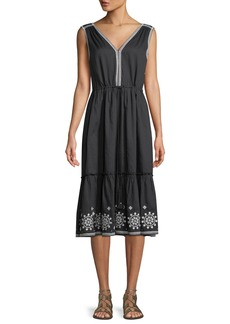 kate spade new york mosaic embroidered midi dress