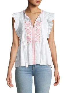 kate spade new york mosaic embroidered tassel top
