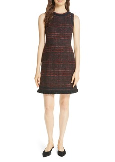 kate spade new york multi tweed fringe dress